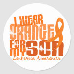 Llevo el naranja para mi leucemia del hijo 6,4 etiqueta redonda