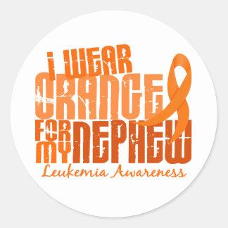 Llevo el naranja para mi leucemia del sobrino 6,4 pegatina redonda