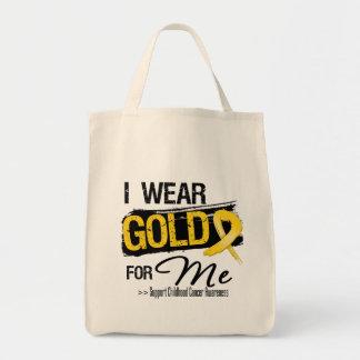 Llevo el oro para mí cinta del cáncer de la niñez bolsa de mano