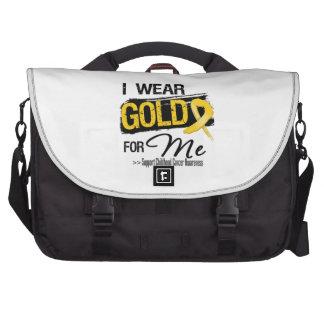 Llevo el oro para mí cinta del cáncer de la niñez bolsas de portátil