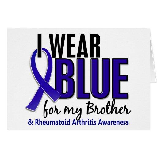 Llevo el RA azul de la artritis reumatoide de Brot Tarjeton