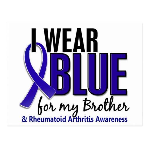 Llevo el RA azul de la artritis reumatoide de Brot Tarjetas Postales