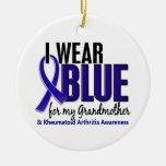 Llevo el RA azul de la artritis reumatoide de la a Adorno De Navidad