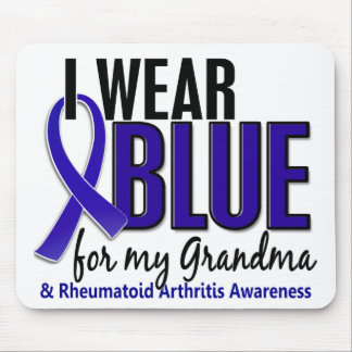 Llevo el RA azul de la artritis reumatoide de la a Tapetes De Ratones