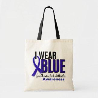 Llevo el RA azul de la artritis reumatoide de la c Bolsa De Mano