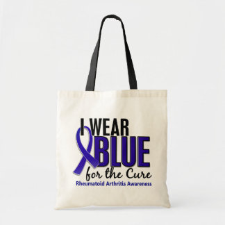 Llevo el RA azul de la artritis reumatoide de la c Bolsas De Mano