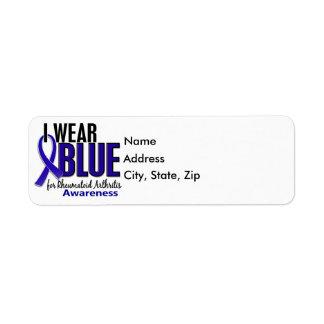 Llevo el RA azul de la artritis reumatoide de la c Etiqueta De Remite
