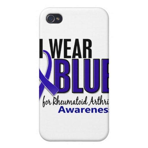 Llevo el RA azul de la artritis reumatoide de la c iPhone 4 Fundas