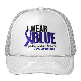 Llevo el RA azul de la artritis reumatoide de la c Gorras