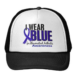 Llevo el RA azul de la artritis reumatoide de la c Gorros
