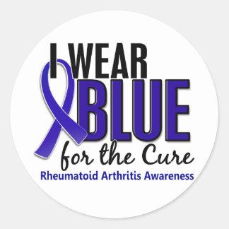 Llevo el RA azul de la artritis reumatoide de la c Etiqueta