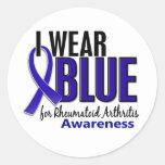 Llevo el RA azul de la artritis reumatoide de la c Pegatinas Redondas