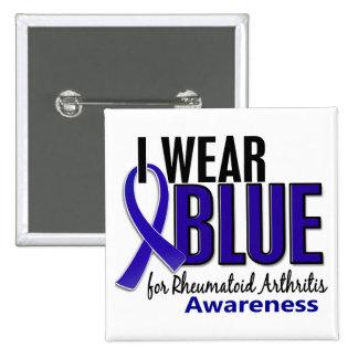 Llevo el RA azul de la artritis reumatoide de la c Pin Cuadrada 5 Cm