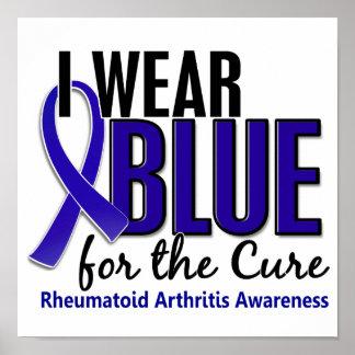 Llevo el RA azul de la artritis reumatoide de la c Póster