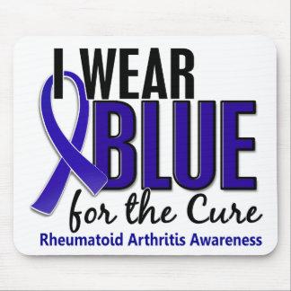 Llevo el RA azul de la artritis reumatoide de la c Tapetes De Raton