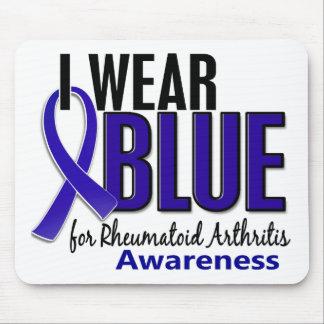 Llevo el RA azul de la artritis reumatoide de la c Alfombrillas De Raton