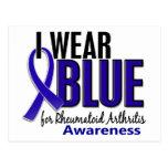Llevo el RA azul de la artritis reumatoide de la c Tarjeta Postal