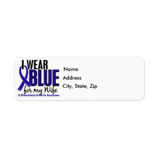 Llevo el RA azul de la artritis reumatoide de la e Etiqueta De Remite