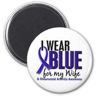 Llevo el RA azul de la artritis reumatoide de la e Imán De Frigorifico