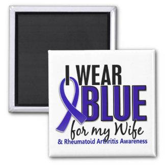 Llevo el RA azul de la artritis reumatoide de la e Imán Cuadrado