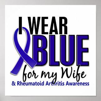 Llevo el RA azul de la artritis reumatoide de la e Póster