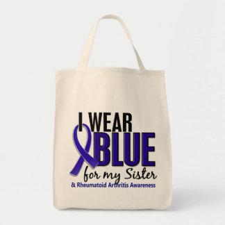 Llevo el RA azul de la artritis reumatoide de la h Bolsas Lienzo