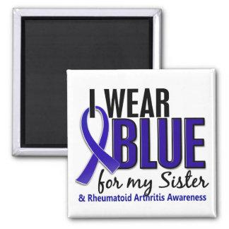 Llevo el RA azul de la artritis reumatoide de la h Imán Cuadrado