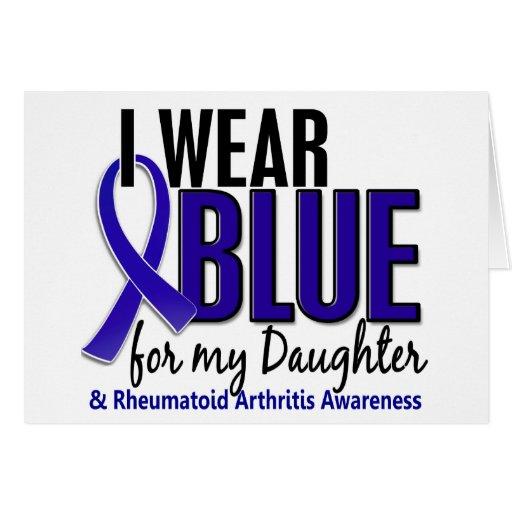 Llevo el RA azul de la artritis reumatoide de la h Felicitación