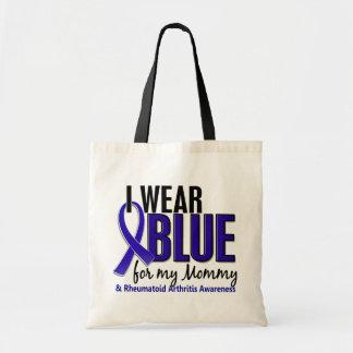 Llevo el RA azul de la artritis reumatoide de la m Bolsas De Mano