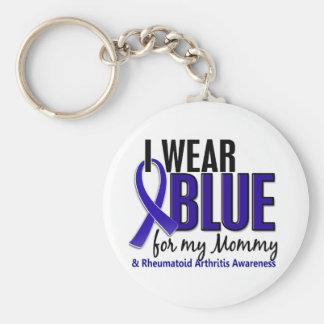 Llevo el RA azul de la artritis reumatoide de la m Llavero Personalizado