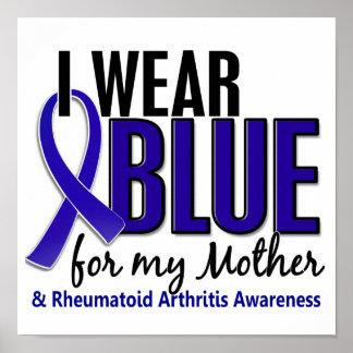 Llevo el RA azul de la artritis reumatoide de la m Posters