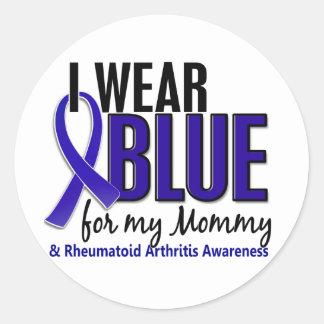 Llevo el RA azul de la artritis reumatoide de la m Pegatina Redonda