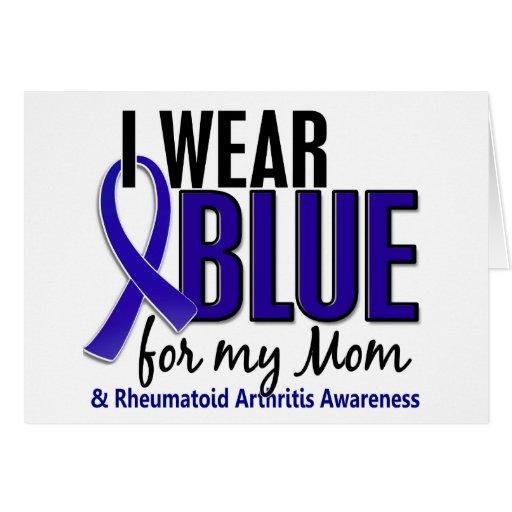 Llevo el RA azul de la artritis reumatoide de la m Tarjetas