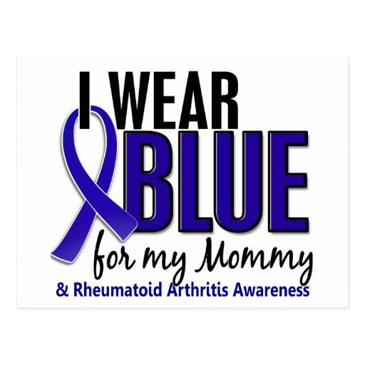 Llevo el RA azul de la artritis reumatoide de la m Tarjeta Postal