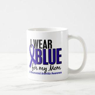 Llevo el RA azul de la artritis reumatoide de la m Tazas De Café