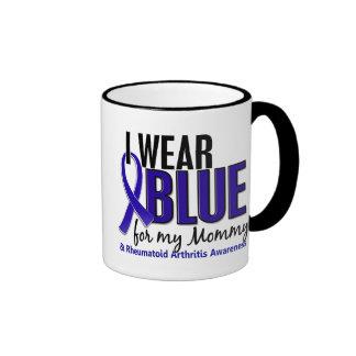 Llevo el RA azul de la artritis reumatoide de la m Tazas