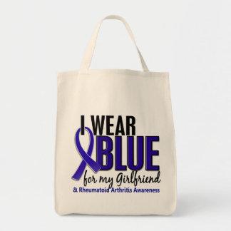 Llevo el RA azul de la artritis reumatoide de la n Bolsas De Mano