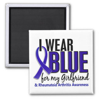 Llevo el RA azul de la artritis reumatoide de la n Imán De Nevera