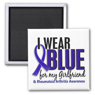 Llevo el RA azul de la artritis reumatoide de la n Imán Cuadrado