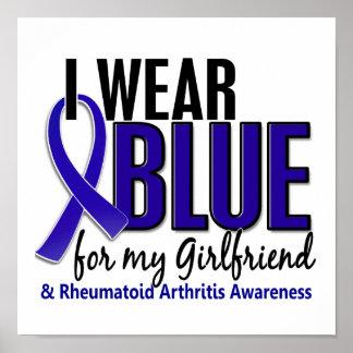 Llevo el RA azul de la artritis reumatoide de la n Poster