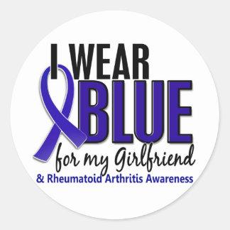 Llevo el RA azul de la artritis reumatoide de la n Pegatina Redonda