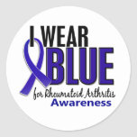 Llevo el RA azul de la artritis reumatoide de la Pegatinas Redondas