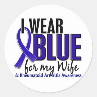 Llevo el RA azul de la artritis reumatoide de la Pegatina Redonda