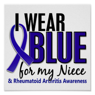 Llevo el RA azul de la artritis reumatoide de la s Posters