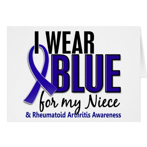 Llevo el RA azul de la artritis reumatoide de la s Tarjeton