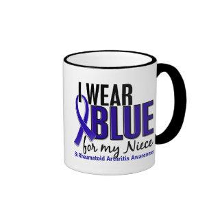 Llevo el RA azul de la artritis reumatoide de la s Tazas