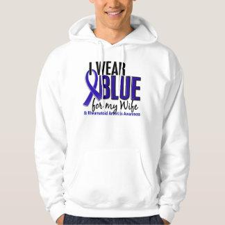 Llevo el RA azul de la artritis reumatoide de la Sudadera Encapuchada