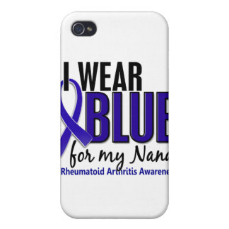 Llevo el RA azul de la artritis reumatoide de Nana iPhone 4 Funda