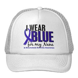 Llevo el RA azul de la artritis reumatoide de Nana Gorros Bordados
