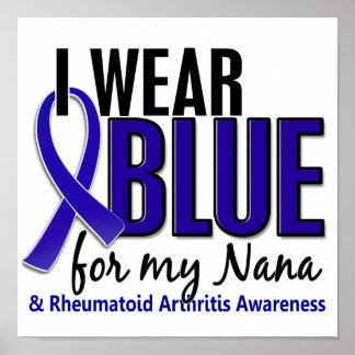Llevo el RA azul de la artritis reumatoide de Nana Poster